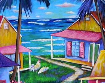 Key West House Island chickens coastal landscape tropical fine art KeROBinson Original Painting