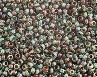 20 Grams Japanese Miyuki 11/0 Seed Beads - Tr. Sea Foam Picasso - 2mm (11-4506)