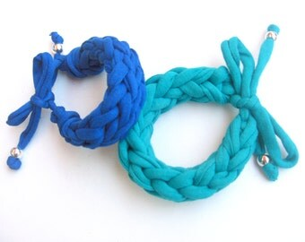 Colorful cotton bracelet, mustard knitted bracelet, turquoise bracelet, blue braided bracelet, womans bracelet, girls cotton bracelet.