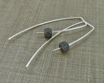 Sterling Silver Dangle Hook Earrings - Matte Grey Hematite Cube Beads - Simple Modern Minimal Beaded Wire Jewelry