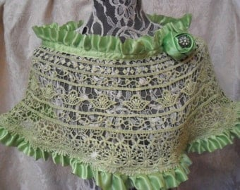 50% OFF  CAPELET Shawl Crochet Reworked Romantic Altered Clothing - Capelet - Shades of Green