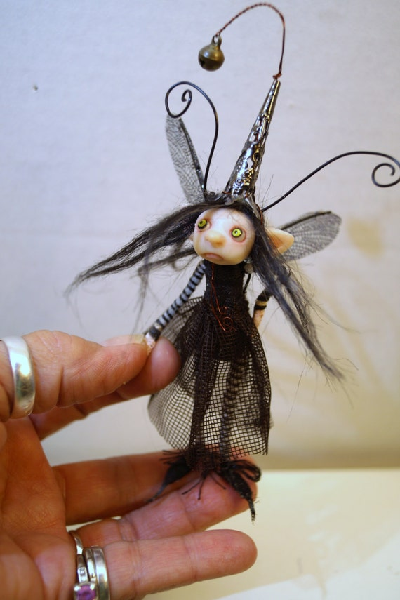 Ooak Poseable Little Bug Fairy 76 Pixie Polymer Clay Art