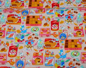 Animal and Sweets print fabric one  meter 50  cm by 106 cm or 19.6 by 42 inches A9