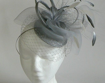 horsehair cocktail hat - silver bridal hat - gray tea party hat