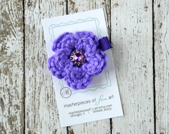 Small Purple Crocheted Flower Hair Clip with Rhinestone Center - crocheted flower hair bow - flower hair clips - flower hairbows