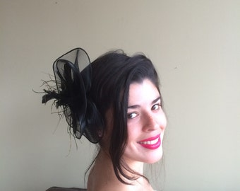 SINAMAY FASCINATOR , with Feathers, Black  /  F - 43