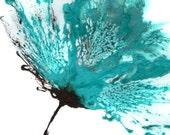 Teal Painting, Abstract Flower Art, Original Artwork, Wall Art Blue