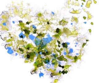 Modern Art Print, Heart Artwork, Watercolor Print, Green Blue