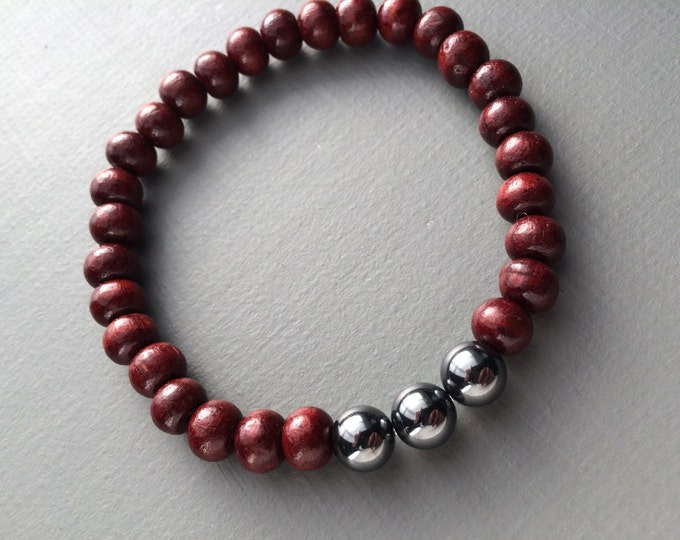 hematite and rosewood stretch mala bracelet