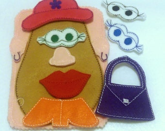 Quiet activity book addon page - Mrs Potato game- educational game busy bags quiet book #QB111