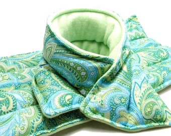 LARGE Microwave Heat Pad, Heat Pack, rice bag flax, microwave hot cold pack gift set, green paisley