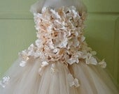 Flower girl dress Champagne Dress Champagne tutu dress, flower top, hydrangea top, toddler tutu dress Cascading flowers