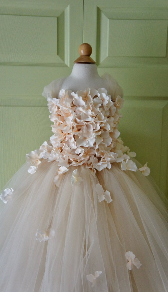 Flower Girl Dress Champagne Dress Champagne Tutu Dress Flower