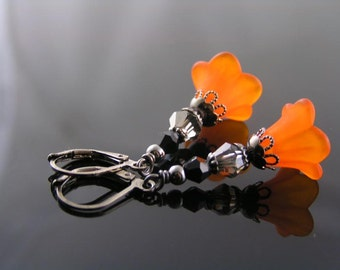 Orange Earrings, Orange and Black Flower Earrings, Orange Lucite Flower Earrings, Lucite Earrings, Dramatic Earrings