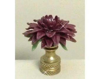 Dahlia Flower Lamp Finial..Handcrafted in custom colors