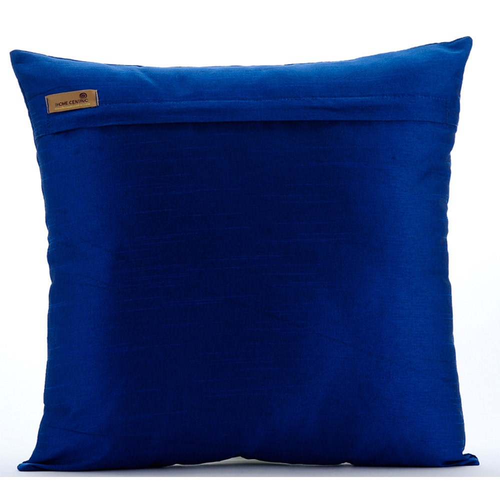 Royal blue pillow cases 16x16 square silk throw by for Royal blue couch pillows
