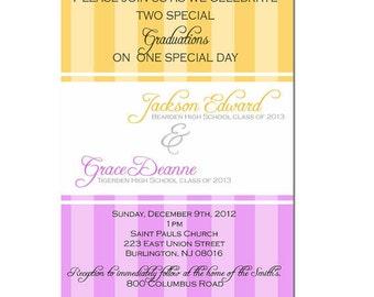 Twin graduation announcement card - digital file- twin graduation invitation- Double Graduation - Commencement Announcement - Printable