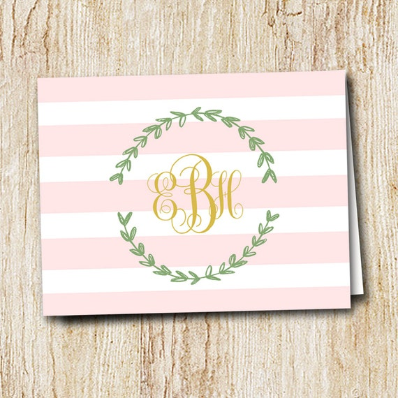 Monogrammed Notecard - Striped laurel - set of folded notecards with envelopes - Personalized Note Cards - Mother's Day Gift