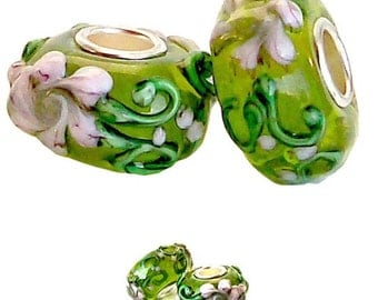 MERZIEs silver lampwork glass European charm large hole bead - floral cream green white - Combined Shipping