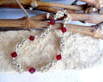 Sterling Silver Ruby Bracelet, Sterling Silver Chain Bracelet with Red Crystals, Wrist Adornment 7.75 inches
