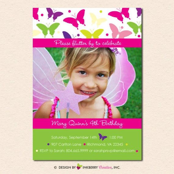 Bright Butterfly Fairy - Birthday Party Photo Invitation (Digital File ...