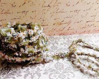 Olive green Tulle Tutu Lace Fringe Trim - mixed media fiber art supply, millinery, needlework, vintage style novelty edging, ruffle trimming