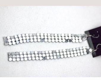 Long Thin Iridescent Shiny Silver Metal Fabric Modern Retro Hippie Earrings