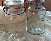 Vintage Atlas E - Z Seal Lg Glass Canning Jars, Wire Bail Tops, clear glass, lids, Pr 2, kitchen storage collectible