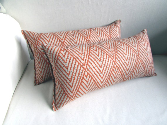 Ikat PAIR  TANGERINE lumbar, throw, toss pillows 10x20