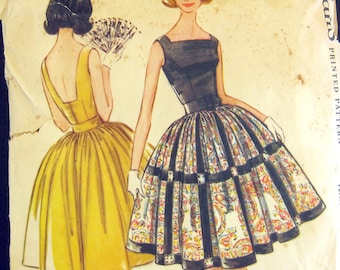 Early 1960s Vintage  Sewing Pattern - MCCalls 5770 - PARTY DRESS  - Petticoat // Size 10