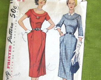 Simplicity 8406 1950s Misses Slim Dress Pattern Detachable Collar Cuffs Womens Wiggle Dress Vintage Sewing Pattern / Size 12