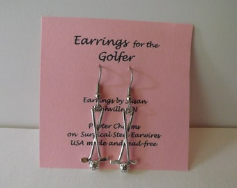 Golf Club Charm Earrings silver pewter surgical steel made in USA