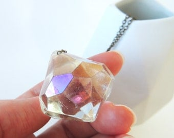 Clear Diamond Pendant -- Big Jewel Fashion Pendant -- Large Plastic Charm -- UK Shop