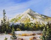 SNOW MOUNTAIN Framed Original Oil Painting Art Kessler Peak Scenic Wasatch Utah Salt Lake City Nature Moose Pine Trees Winter Big Cottonwood
