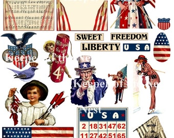 Patriotic Digital Collage Assemblage Sheet PNG ATC ACEO Mixed Media Instant Digital Download