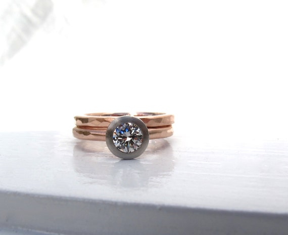 engagement ring gold and dual metal