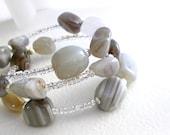 Natural Agate Bracelet, Memory Wire Jewelry, Chunky Grey Stone Cuff Bracelet