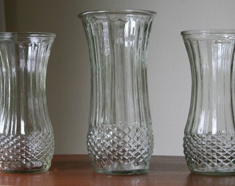WEDDING SET: Three Matching Crystal Clear Hoosier Glass Vases / Geometric Diamond Points, Ribbed Waves / Farmhouse Cottage Shabby Chic Style