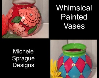 Painted glass vase whimsical painted home decor