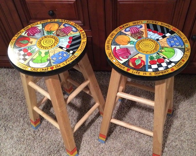 "Whimsical Painted Furniture, Painted bar Stool // Painted Bar Stool // Whimsical Painted Furniture // 24"" or 29"" Painted Stool"