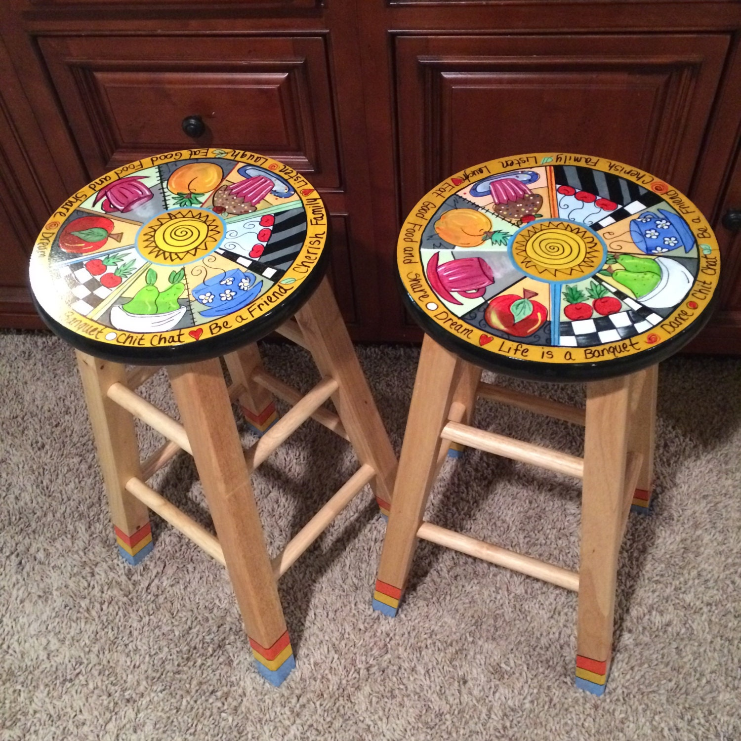 Whimsical Painted Furniture Painted Bar Stool Painted Bar