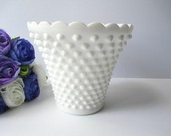 Vintage Fenton MIlk Glass Hobnail Jardiniere/Vase