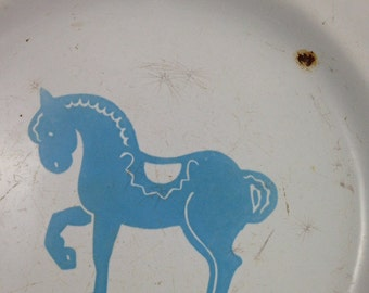 Vintage Graniteware Children's Plate with Light Blue Horse