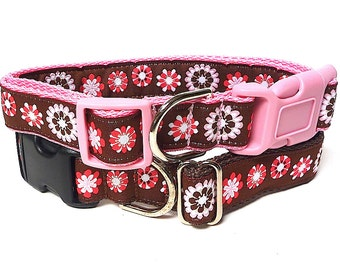 """1"""" wide Dog Tag Collar CARISSA in brown and pink pop art floral"""