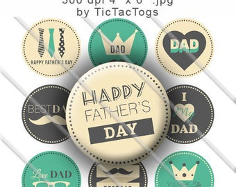 SALE - Father's Day Sayings Bottle Cap Hipster Digital Art Collage Set 1 Inch Circle 4x6 - Instant Download - BC483