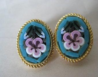 Flower Blue Lavender Earrings Clip Micro Mosaic Vintage Glass