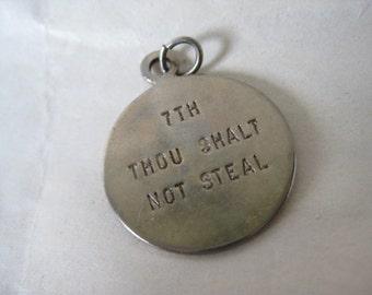 Thou Shalt Not Steal Charm Gold Vintage 7th Commandment
