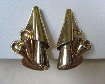 Gold Modern Earrings Screw Vintage