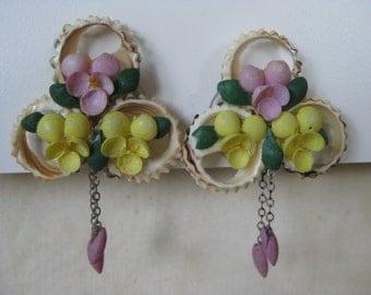 Purple Yellow Green Shell Earrings Screw Dangle Vintage