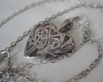 Heart Clover Sterling Necklace Silver Filigree Vintage 925 Pendant